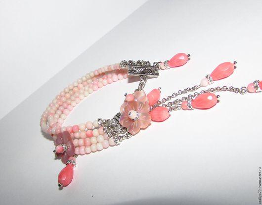 """Браслеты ручной работы. Ярмарка Мастеров - ручная работа. Купить Браслет """"Цветение Коралла"""". Handmade. Коралловый, цветы из перламутра"""