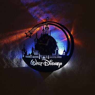 For home and interior handmade. Livemaster - original item Wall clock with LED backlight from plate to children`s Disney. Handmade.