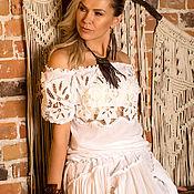 Одежда ручной работы. Ярмарка Мастеров - ручная работа Юбка и блузка Lace dreams exclusivе, с кружевом ришелье ручной работы. Handmade.