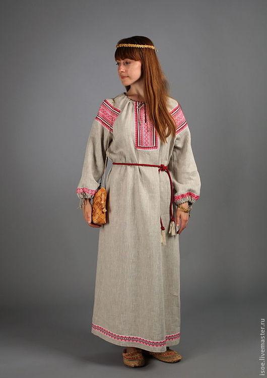 Одежда ручной работы. Ярмарка Мастеров - ручная работа. Купить Славянская рубаха женская народная (серый лен с красным). Handmade.