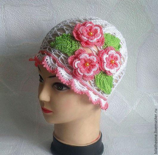 Шапки и шарфы ручной работы. Ярмарка Мастеров - ручная работа. Купить Ажурная летняя  шапочка для девочки. Handmade. Розовый