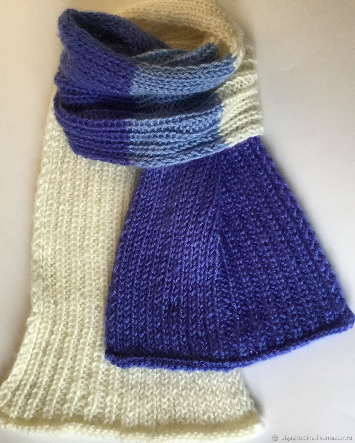 Knitted Scarf For The Spring Cashmere Blue White Blue Shop