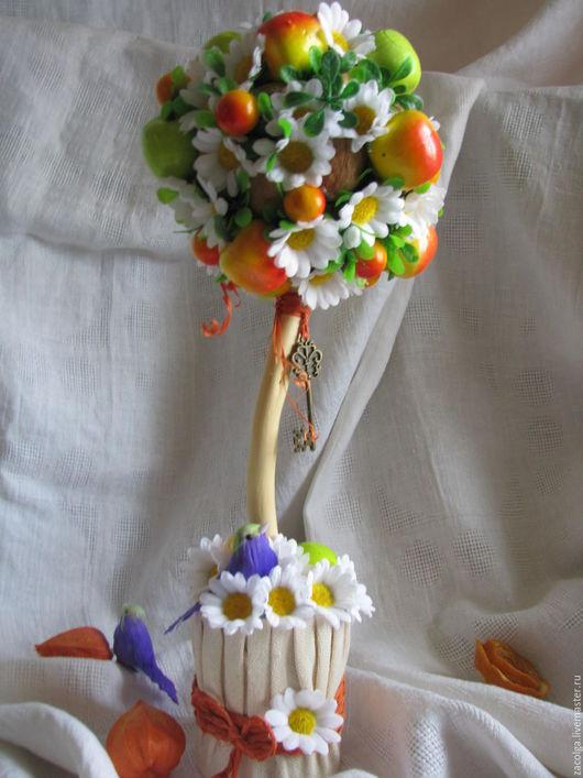 """Топиарии ручной работы. Ярмарка Мастеров - ручная работа. Купить Топиарий """"Яблоневый сад"""". Handmade. Зеленый, ключик, птичка"""