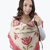 """handmade. Livemaster - original item Felt scarf  """"Pomegranate"""". Handmade."""
