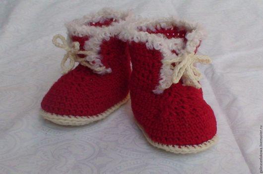 Детская обувь ручной работы. Ярмарка Мастеров - ручная работа. Купить Пинетки- ботиночки. Handmade. Ярко-красный, пинетки для новорожденных