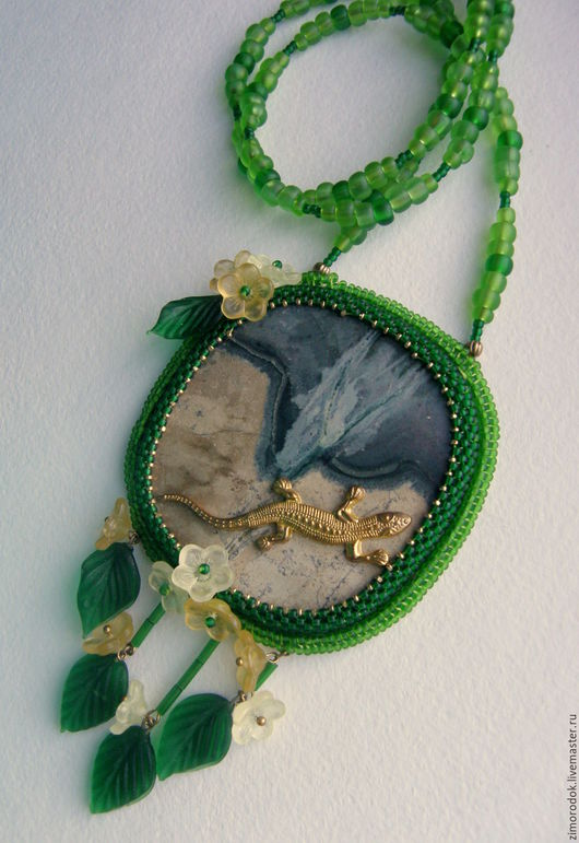 Кулоны, подвески ручной работы. Ярмарка Мастеров - ручная работа. Купить Крупный кулон  со змеевиком Первоцвет. Handmade. Зеленый