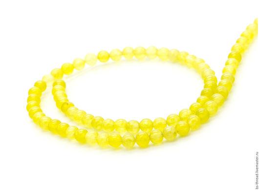Для украшений ручной работы. Ярмарка Мастеров - ручная работа. Купить Оникс желтый прессованный шар 4.5-5мм, нить - арт.1-12. Handmade.