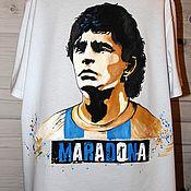 handmade. Livemaster - original item T-shirt print of the football player Maradona hand painted. Handmade.