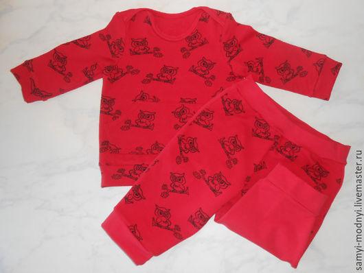 """Одежда унисекс ручной работы. Ярмарка Мастеров - ручная работа. Купить Комплект """"Совенок"""". Handmade. Ярко-красный, трикотаж"""