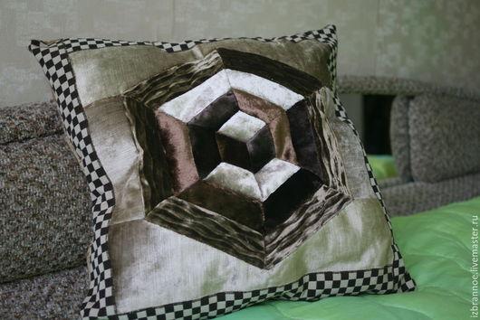Текстиль, ковры ручной работы. Ярмарка Мастеров - ручная работа. Купить Подушка Геометрия. Handmade. Коричневый, лоскутная подушка, эксклюзив