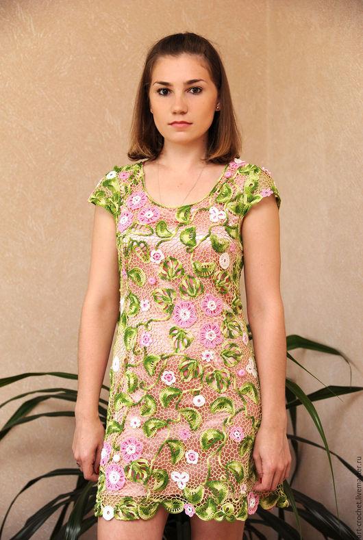 """Платья ручной работы. Ярмарка Мастеров - ручная работа. Купить платье """"Весенний цвет"""". Handmade. Комбинированный, ирландское кружево, розовый"""