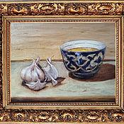 Картины ручной работы. Ярмарка Мастеров - ручная работа Картины: Мед в синей пиале натюрморт на холсте маслом. Handmade.
