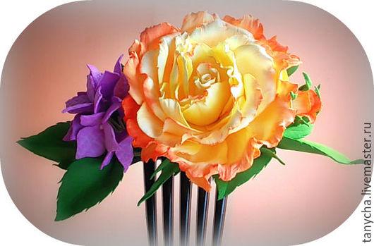 Заколки ручной работы. Ярмарка Мастеров - ручная работа. Купить Роза из фоамирана на гребне. Handmade. Комбинированный, цветы в прическу, подарок