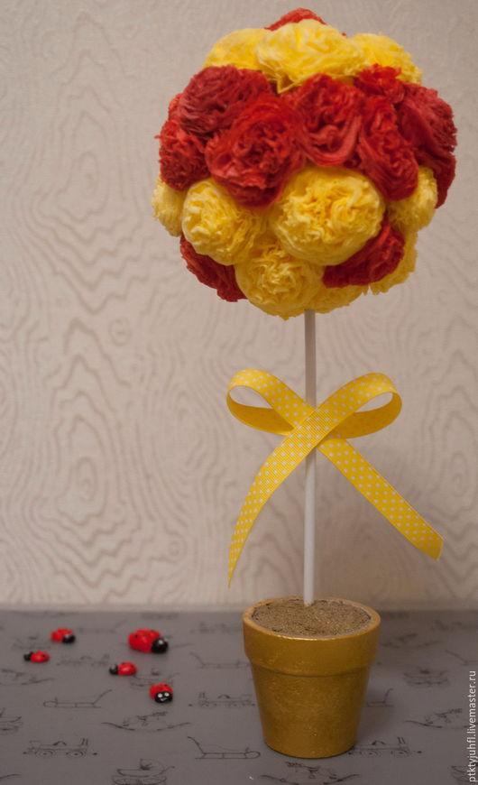 """Топиарии ручной работы. Ярмарка Мастеров - ручная работа. Купить Топиарий """"Желто-красный"""". Handmade. Комбинированный, желтый цвет"""