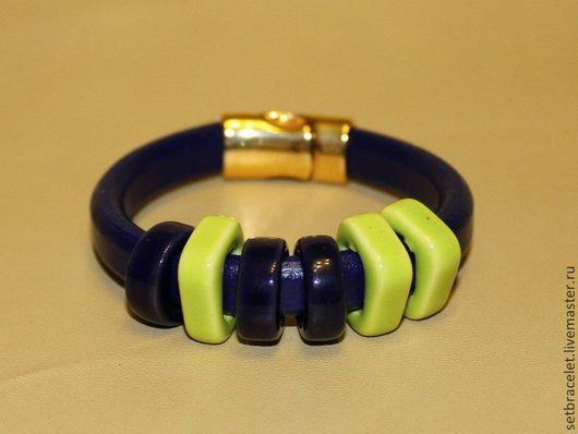 Браслеты ручной работы. Ярмарка Мастеров - ручная работа. Купить Кожаный браслет объемный шнур. Фиолетово - синий. Handmade.
