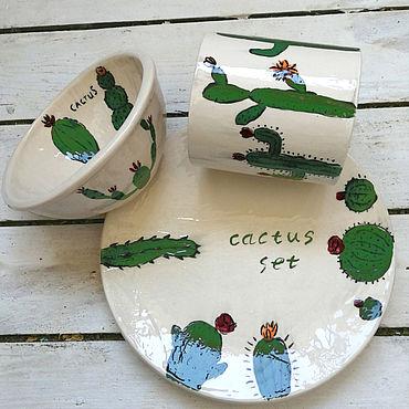 Посуда ручной работы. Ярмарка Мастеров - ручная работа Кактусовый сервиз, набор посуды из керамики ручной работы с кактусами. Handmade.