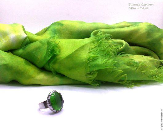 """Кольца ручной работы. Ярмарка Мастеров - ручная работа. Купить Кольцо""""Лето""""кулон кольцо стекло металл патина витраж. Handmade. Зеленый"""