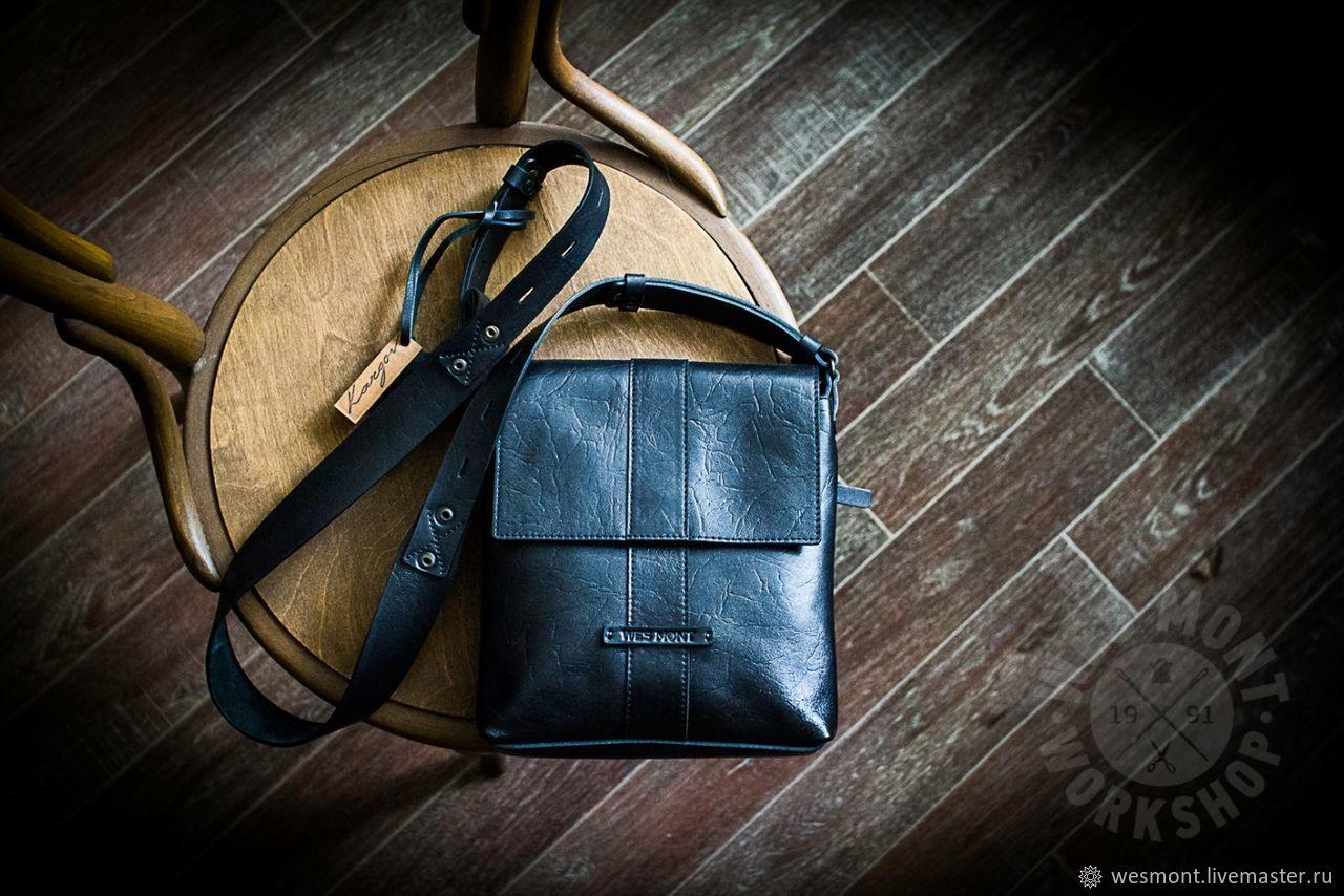Чёрная кожаная сумка с клапаном на длинном ремне БОСТОН Чёрная кожа, Классическая сумка, Рыбинск,  Фото №1