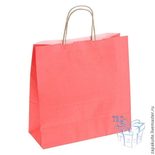 Упаковка ручной работы. Ярмарка Мастеров - ручная работа. Купить Крафт пакеты, 32х32х12 см, с кручеными ручками, розовый, пакет. Handmade.