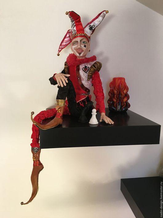 Коллекционные куклы ручной работы. Ярмарка Мастеров - ручная работа. Купить Джокер. Handmade. Ярко-красный, кукла в подарок, кожа