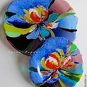 Посуда ручной работы. Ярмарка Мастеров - ручная работа комплект посуды из стекла, фьюзинг  Ирис. Handmade.