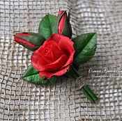 Украшения ручной работы. Ярмарка Мастеров - ручная работа Брошь с темно красной розой. Handmade.