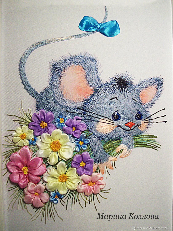 Мышка - веселушка Вышивка лентами и мулине, Картины, Санкт-Петербург,  Фото №1