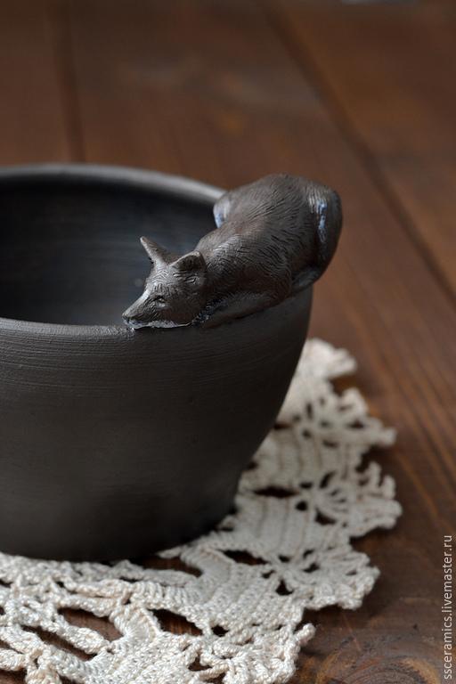 """Пиалы ручной работы. Ярмарка Мастеров - ручная работа. Купить Пиала с ложечкой """"Лиса"""". Handmade. Черный, чашка с лисой"""