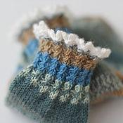 Аксессуары ручной работы. Ярмарка Мастеров - ручная работа р.25-26 детские носочки с белым кружевом (синий-серый-коричневый). Handmade.