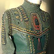 Одежда handmade. Livemaster - original item Blouse Ethno cotton knitwear, hand embroidery, knitting, beads, leather. Handmade.