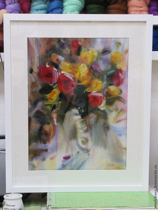 Картины цветов ручной работы. Ярмарка Мастеров - ручная работа. Купить картина из шерсти. Handmade. Розовый, картина, цветы, Живопись