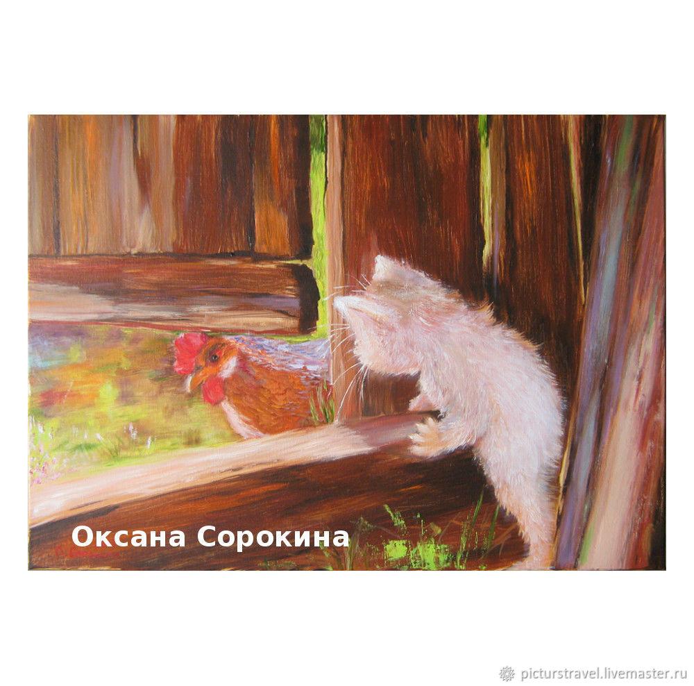 Картина маслом Охотник. Петух и котенок. Купить картину с животными