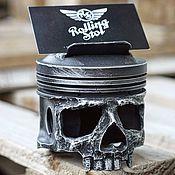 Визитницы ручной работы. Ярмарка Мастеров - ручная работа Визитница в форме черепа из поршня двигателя. Handmade.