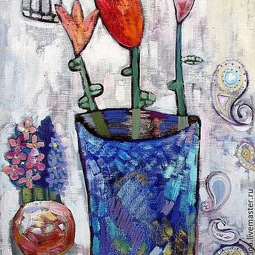Картины и панно ручной работы. Ярмарка Мастеров - ручная работа Тюльпаны в перламутровой вазе. Handmade.