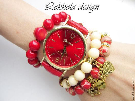 """Браслеты ручной работы. Ярмарка Мастеров - ручная работа. Купить Часы """"Алый цветок"""". Handmade. Ярко-красный, браслет, часы"""