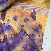 Аксессуары ручной работы. Ярмарка Мастеров - ручная работа Вечерний Прованс- шелковый шарф с ручной росписью. Handmade.