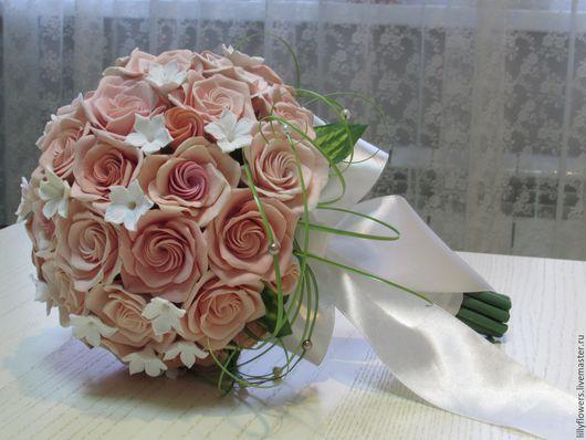 """Свадебные цветы ручной работы. Ярмарка Мастеров - ручная работа. Купить Свадебный букет из полимерной глины """"Викторианские розы"""". Handmade."""