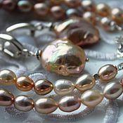 Украшения ручной работы. Ярмарка Мастеров - ручная работа Комплект Souffle  Rose gold luxury колье и серьги, серебро. Handmade.