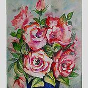 Картины и панно ручной работы. Ярмарка Мастеров - ручная работа Розовые розы. Акварель 30 - 20. Handmade.