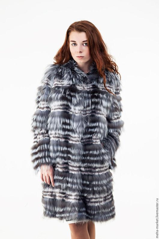 Пальто комбинированное из чернобурки `Мальвина`