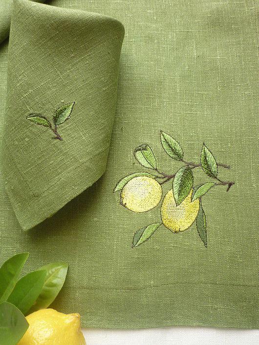 """Текстиль, ковры ручной работы. Ярмарка Мастеров - ручная работа. Купить Комплект д/кофе  """"Лимон"""". Handmade. Вышитая скатерть, лимоны"""