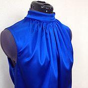 Одежда handmade. Livemaster - original item Blouse 42r 44R 46r 48r 50 R / silk, blue. Handmade.
