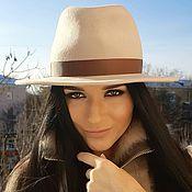 Аксессуары handmade. Livemaster - original item Felt hat Fedora with a flat brim. Color light beige. Handmade.