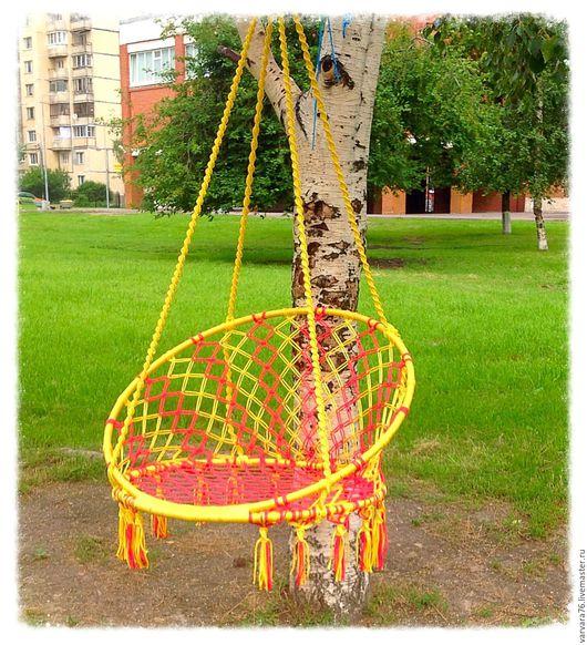 Мебель ручной работы. Ярмарка Мастеров - ручная работа. Купить Плетеное кресло-качель, красное желтое солнышко.. Handmade. Желтый