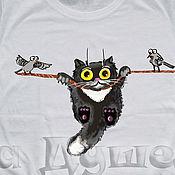 Одежда handmade. Livemaster - original item T-shirt  hand painted funny cat. Handmade.