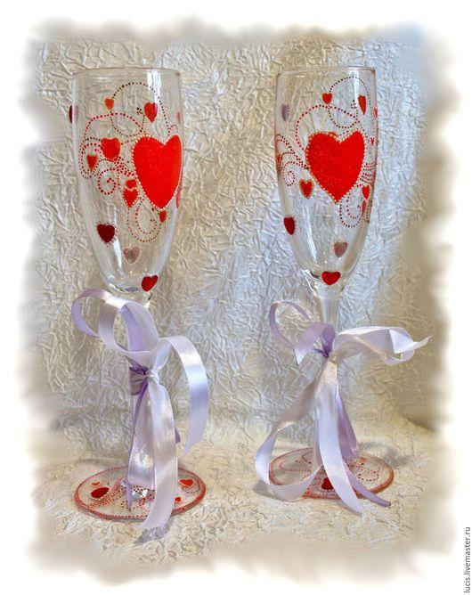 Бокалы, стаканы ручной работы. Ярмарка Мастеров - ручная работа. Купить Праздничные бокалы. Handmade. Стразы, Праздник, юбилей, Бокалы