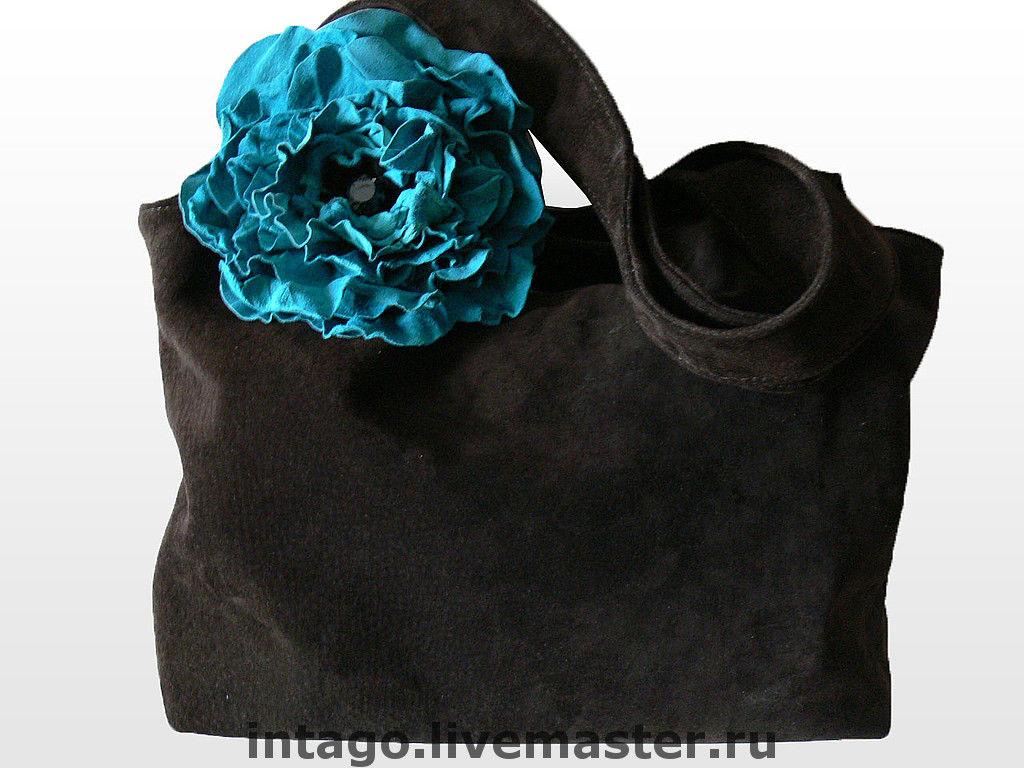 """Сумка и брошь. """"Бирюзовый мак в шоколаде"""".(XL), Классическая сумка, Новосибирск,  Фото №1"""