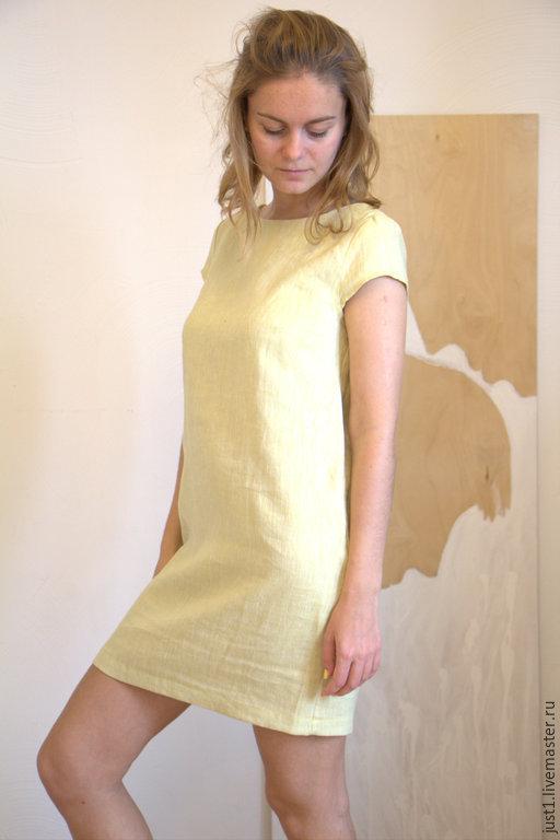 Платья ручной работы. Ярмарка Мастеров - ручная работа. Купить платье  золотисто-желтое льняное. Handmade. Желтый, дизайнерская одежда