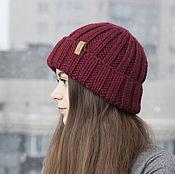 Аксессуары handmade. Livemaster - original item Vinous Cozy Knit Hat for Women,  Hand Knitting Cloche. Handmade.