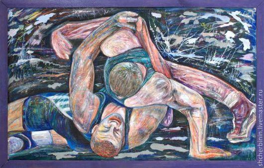 Люди, ручной работы. Ярмарка Мастеров - ручная работа. Купить Картина  Борьба. Handmade. Картина, спорт, азарт, борьба, красноярск